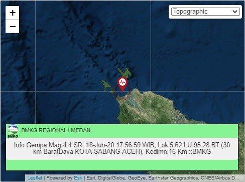 Gempa 4.4 SR Guncang Sabang