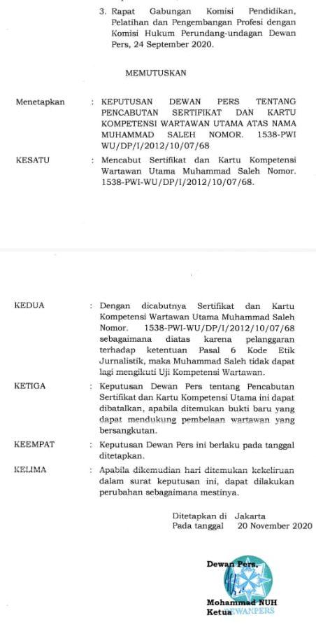 Dewan PERS Cabut Sertifikat dan Kartu Kompetensi Utama M. Saleh