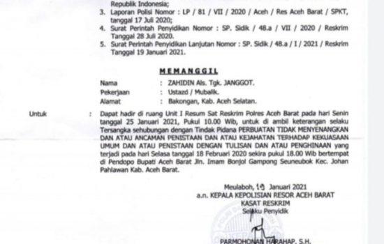 Akhirnya TGK Janggot CS Jadi Tersangka Pada Insiden Pendopo Bupati Ramli. MS