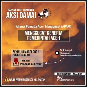 Tuntut Kinerja Gubernur Aceh, APPA Akan Lakukan Demo Di Pendopo