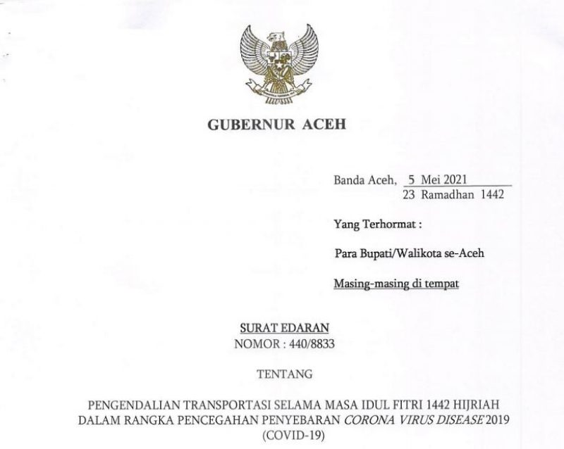 Surat Edaran Gubernur